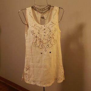 Monoreno offwhite linen boho dress.  Size M